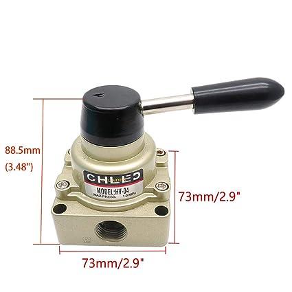 Baomain Rotary lever hand valve HV-04 PT1//2 3 Position 4 Way