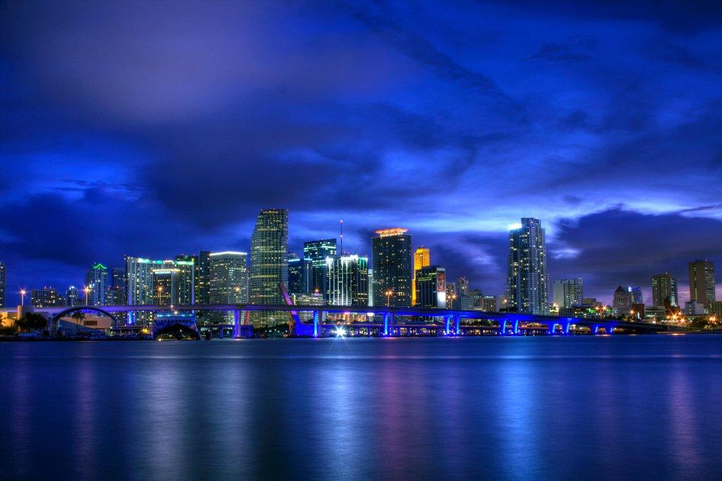 Miami Florida Skyline Illuminated at Night Reflecting on Watefront Photo Art Print Mural Giant Poster 54x36 inch