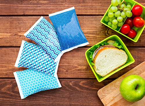 Ice Pack for Lunch Boxes - 4 Reusable Packs - Keeps Food Cold – Cool Print Bag Designs - Great for Kids or Adults Lunchbox and Cooler by Thrive (Image #4)