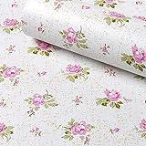 floral shelf liner adhesive - SimpleLife4U Pink Rose Contact Paper Removable Shelf Liner for Kitchen Cabinet Dresser Drawer Covering
