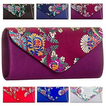 Haute para Divas Mujer Floral decoración Satén Bolso De Mano Fiesta Noche Bolso Mano Cartera