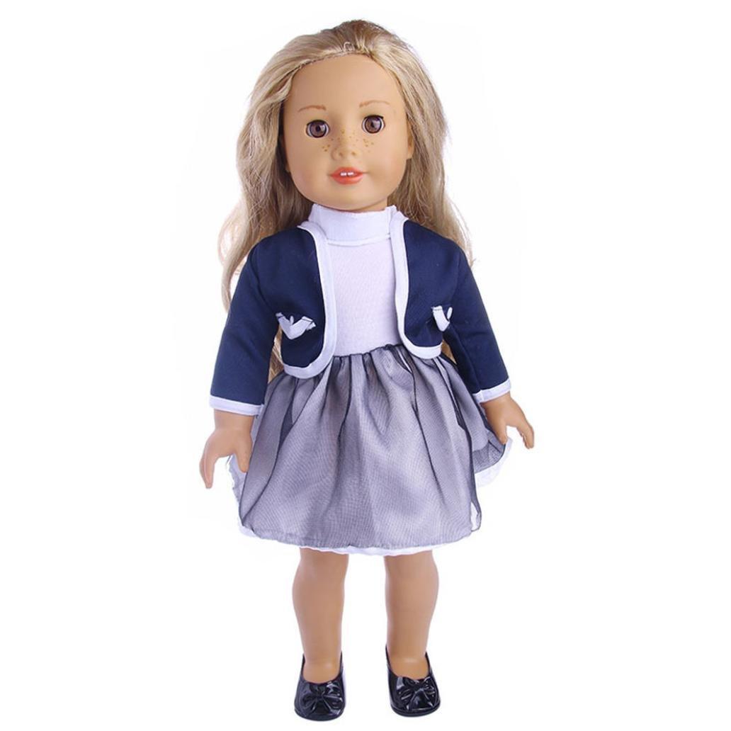 Puppen Kleidung , YUYOUG Niedliches gefaltetes Kleid mit Jacke fü r 18 Zoll unsere Generation American Girl Doll und andere 43-46 cm puppen