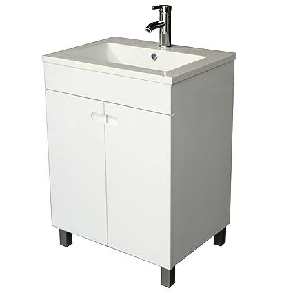 Sliverylake 24 Inch Solid MDF Wood Cabinet Storage Bathroom Vanity Top  Vessel Sink Undermount In White