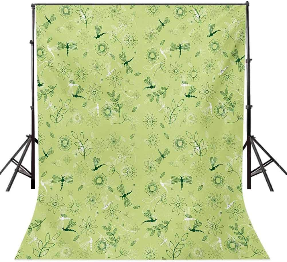 Dragonfly 10x15 FT Photo Backdrops,Flowers and Dragonflies Kids Boys Spring Season Inspiration Image Background for Baby Birthday Party Wedding Vinyl Studio Props Photography Pistachio and Hunter Gre