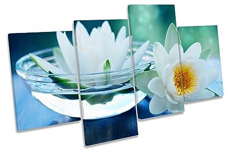 Bathroom Blue Water CANVAS WALL ART MULTI  Box Framed