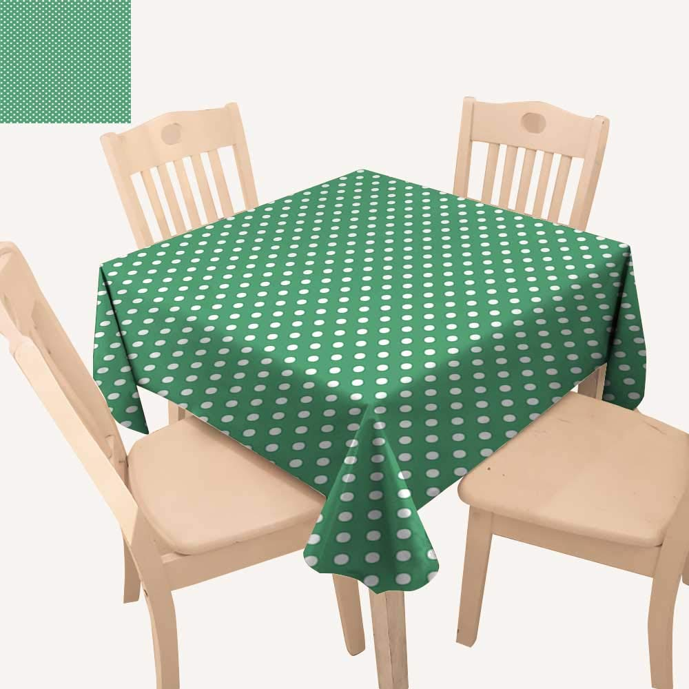 haommhome グリーンクリスマステーブルクロス 昔ながらの水玉模様 グリーンの背景 クラシカルな伝統的なテーブルクロスカバー 幅54インチ x 長さ54インチ   B07MK1T8JJ