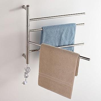 Baño eléctrico Calentador de toallas rack de acero inoxidable montado en la pared calentador de toallas: Amazon.es: Hogar