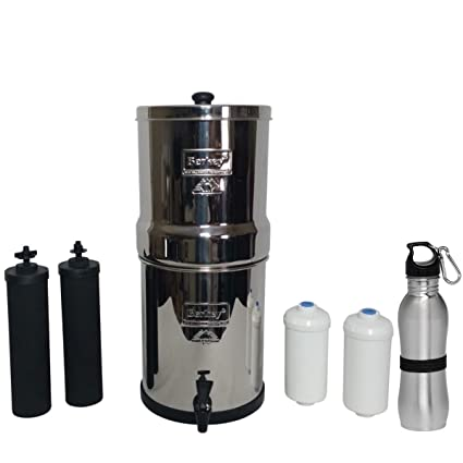berkey water filter fluoride. Travel Berkey Water Filter 1.5 Gallon System Bundle: 2 Black BB9 Filters, PF2 Fluoride