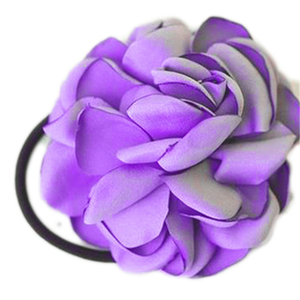 display08 Hair Band Rope Camellia Flower Ponytail Holder Scrunchie Hairband Accessory - Navy Blue