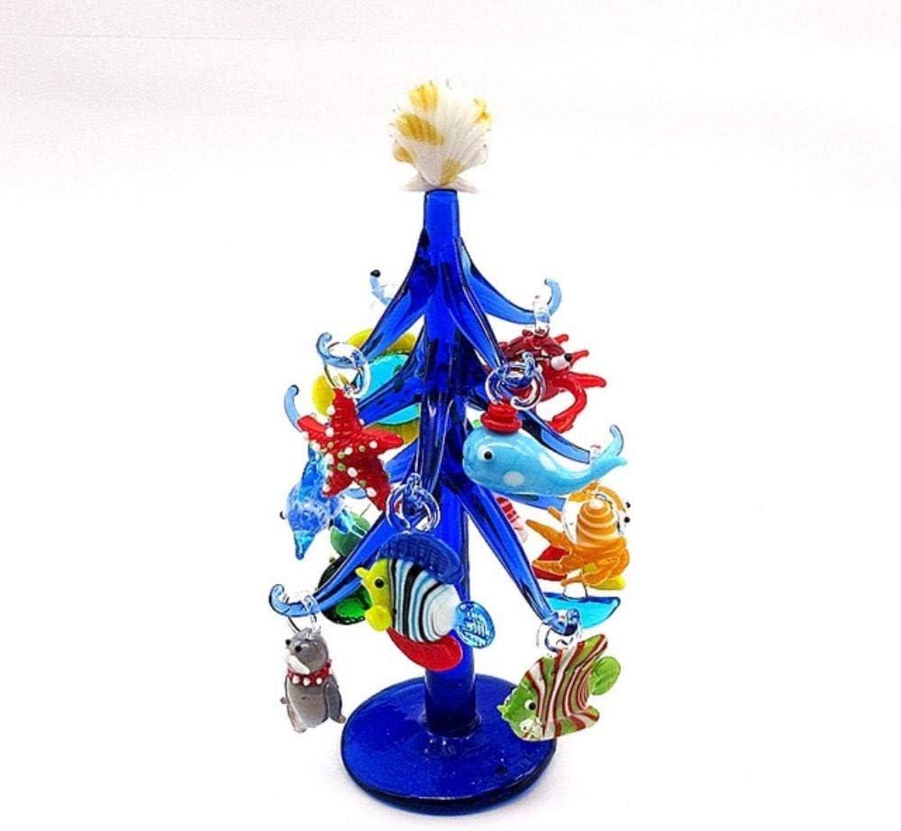 UIXIYIMG Adorno en Forma de árbol de Navidad Hecho a Mano de Cristal de Murano Azul Oscuro Decoración del Acuario para el hogar con 12 Piezas Colgante de estatuilla de Animal Marino, Azul Profundo
