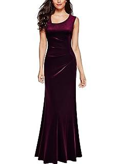 Miusol Damen Elegant Abendkleid Velvet Samtkleid Brautjungfer Cocktailkleid  Vintage Langes Kleid 05c087f14b