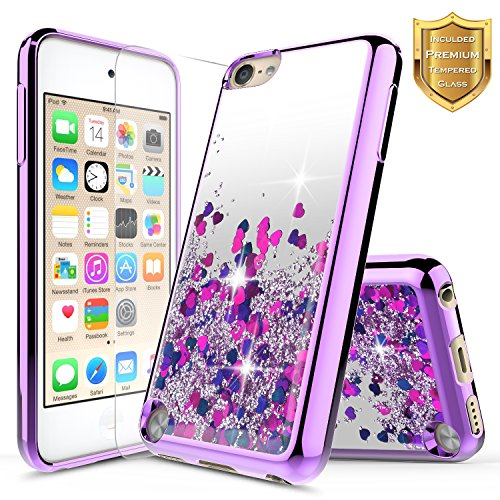 iPod Touch 5th / 6th Liquid Case with [Tempered Glass Screen Protector], NageBee Quicksand Floating Shiny Glitter Flowing Bling Clear Case For Apple iPod Touch 6th / 5th Generation -Purple