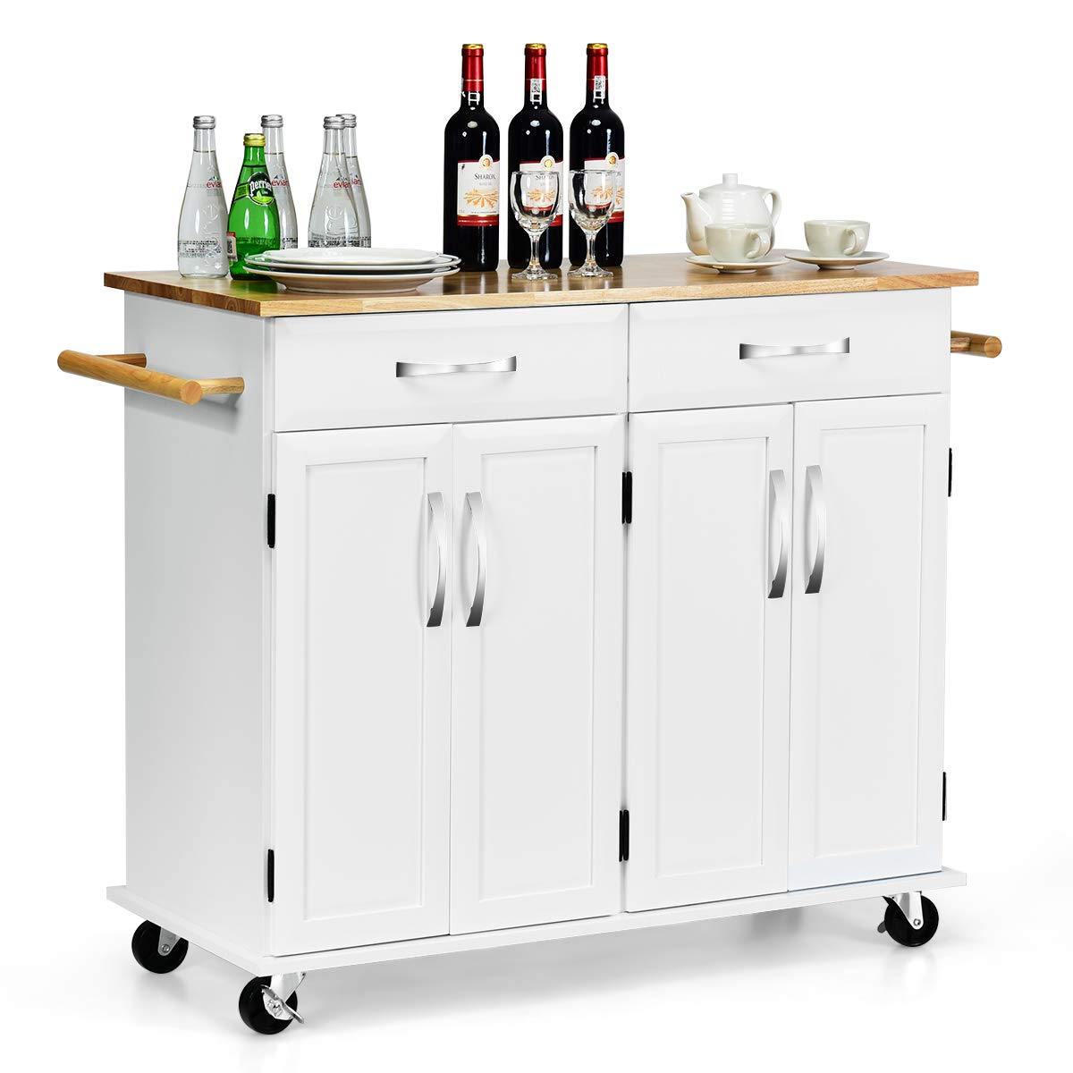 Giantex Kitchen Trolley Cart, Rolling Utility Island w/Rubber Wood Top, Large Storage Easy-Clean with Smooth Lockable Wheels Home Kitchen Carts (White)