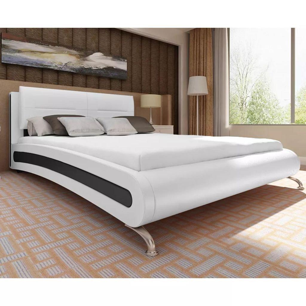 cangzhoushopping Bett mit Matratze 140×200 cm Kunstleder Weiß/Schwarz Möbel Betten Zubehör Betten Bettgestelle