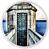 Pixels Round Beach Towel With Tassels featuring ''The Secret Door'' by Marianna Mills