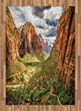 National Parks Area Rug by Lunarable, Utah Plateau Mojave Desert Southwest Erosion Aztec Artistic Print, Flat Woven Accent Rug for Living Room Bedroom Dining Room, 5.2 x 7.5 FT, Brown Green