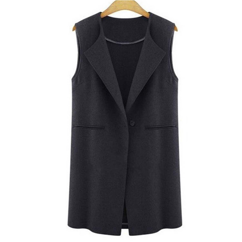 Caseminsto Autumn Fashion Women Vest Coat Sleeveless Button Long Outwear Cardigan Casual Tops Femme Gray 4Xl