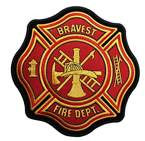 Embroidery Patch Bravest Fire Dept Fireman Department Firefighter 6 3/4