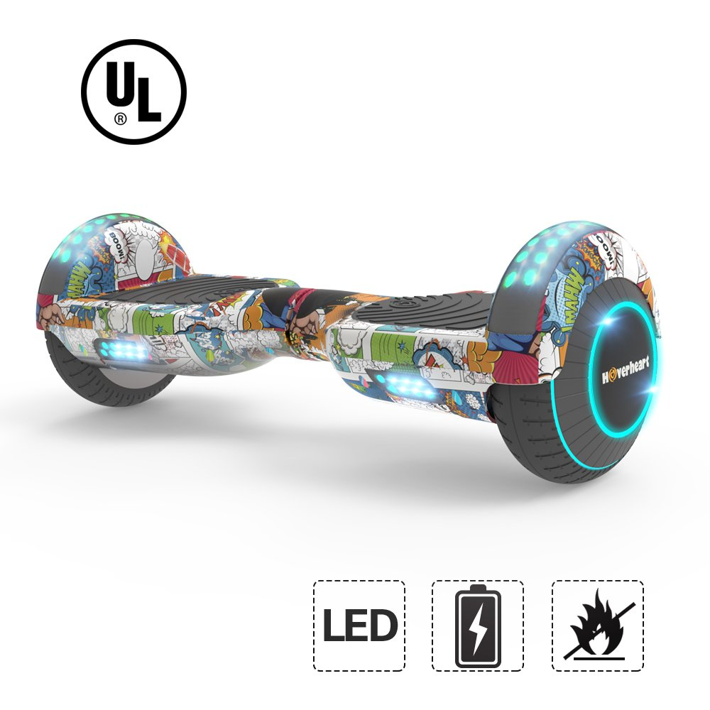 Hoverboard Lithium-Free Two-Wheel Self Balancing Electric Scooter UL 2272 Certified, Metallic Chrome LED Light (Super Hero)
