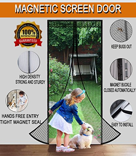 """(Magnetic Screen Door with Mesh Curtain Full Frame Velcro. Fits Door Openings Up To 36""""x82"""" MAX)"""