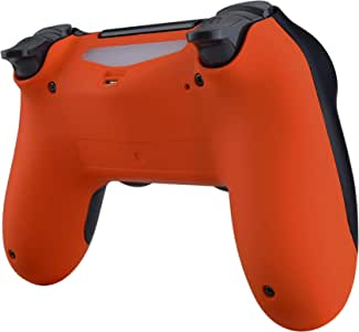 eXtremeRate Orange Bottom Shell, Soft Touch Back Housing Case Cover, Game Improvement Replacement Parts for Playstation 4 PS4 Slim Pro Controller JDM-040, JDM-050 and JDM-055
