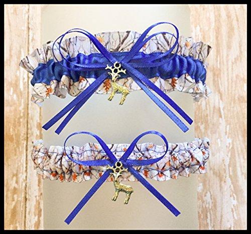 Camouflage Snowfall White Royal Blue Satin Wedding Bridal Garter SET - Deer Charm ()