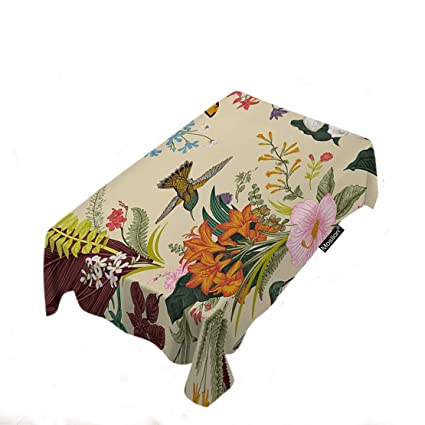 5544f1f35a Moslion Floral Tablecloth Home Decor Vintage Exotic Lily Hibiscus Flowers  Fern Leaves Birds Butterfly Table Cloths