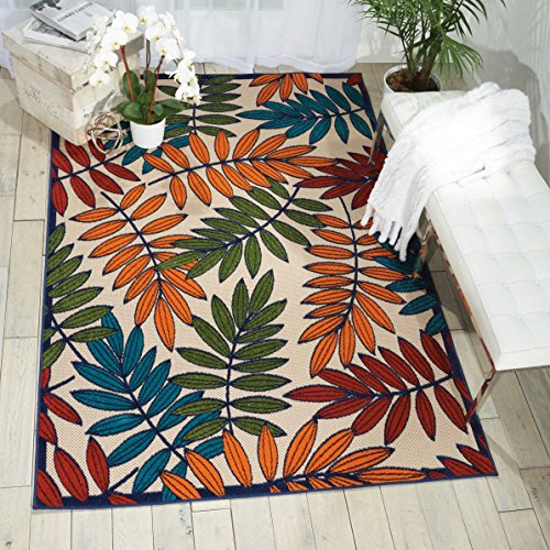 Nourison Aloha ALH18 Multicolor Indoor/Outdoor Area Rug 3 Feet 6 Inches by 5 Feet  6 Inches, 3'6