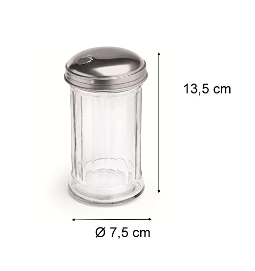 2x Zuckerstreuer aus Glas mit Edelstahlverschluss Zucker-Streuer 12 cm x Ø 7 cm