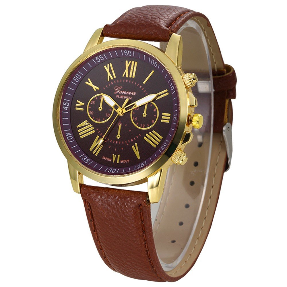 Amazon.com: Womens Watch,Elegant Geneva Roman Numerals Wristwatch Analog Quartz Clock Axchongery (Coffee 2): Musical Instruments