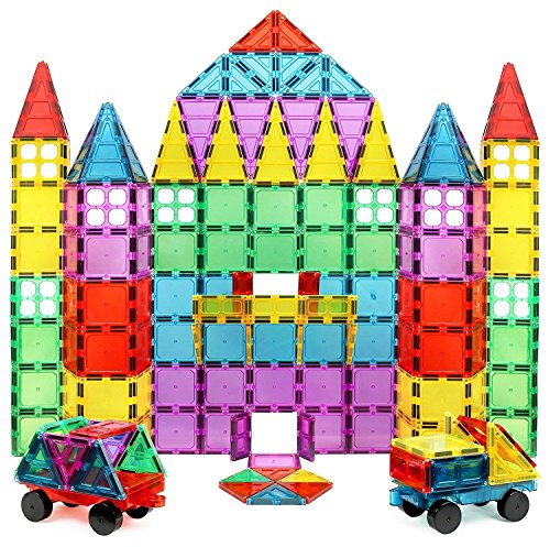 100 Piece 3D Magnetic Tile Building Set Extra Strong Magnets and Super Durable Tiles, Educational, Creative, Assorted Shapes and Vibrant Bright Colors (Magnetic Building Tiles)