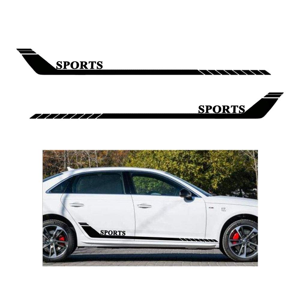 Black MCZAUTO 2Pcs Universal Car Sport Stripes Racing Lower Door Panel Decal Sticker for All Cars Vinyl Bumper Decal /…