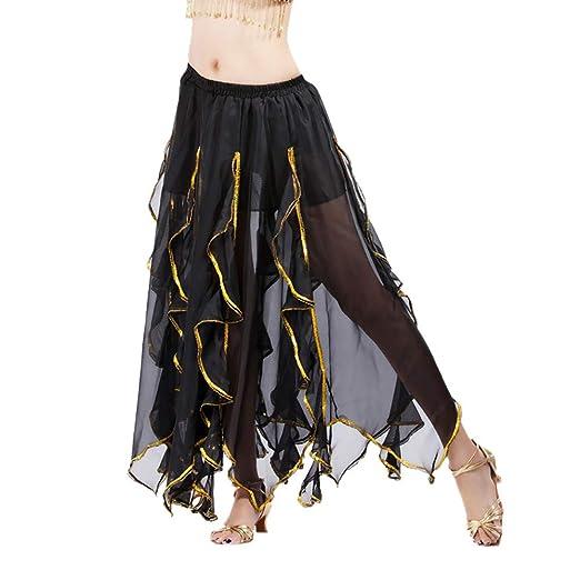 2ce5bee5bdf0 AopnHQ Women's Fashion Sequins Side Skirt Split Skirt Chiffon Belly Dance  Show Long Skirt Black