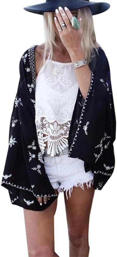 DEELIN Camisa Kimono Estampado Mujer CáRdigan CáRdigan Tops Blusa Chal Protector Solar Cubrir (One-Size, Negro): Amazon.es: Ropa y accesorios