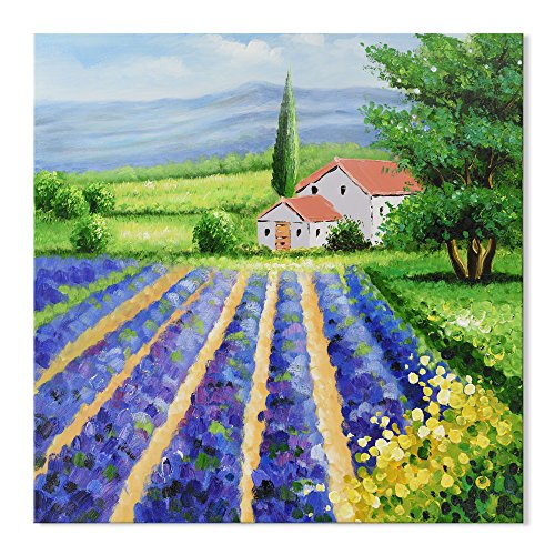 (SEVEN WALL ARTS - Modern Tuscany Italy Landscape Canvas Oil Painting Purple Lavender Field Floral Artwork for Living Room Bedroom Kitchen Decor 32 x 32 Inch)