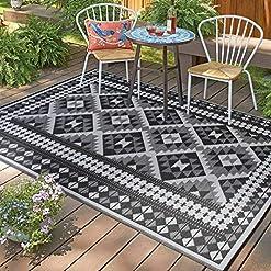 Garden and Outdoor Santex TT005 Reversible Outdoor/Indoor Plastic Rugs ,Perfect for Garden, Patio, Picnic, Decking (Grey,8×10) outdoor rugs