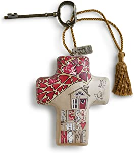 Bless This Home Red Heart 4 x 3 Cross Shaped Resin Keepsake Decoration