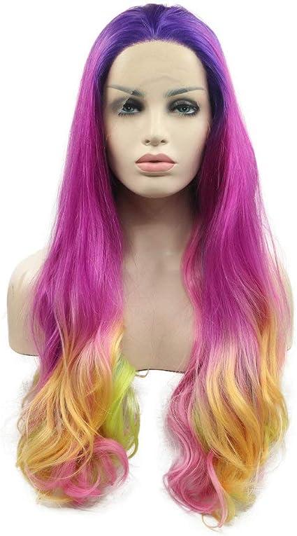 Peluca de pelo sintético largo de color sirena, color violeta ...