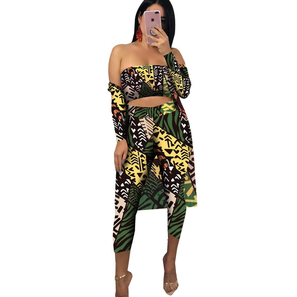 Yellow Green Floral Remxi Women 2 Piece Outfits Clubwear Long Sleeve Open Front Cardigan and Pants Set