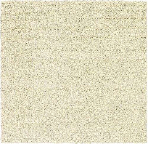 Unique Loom Solo Solid Shag Collection Modern Plush Pure Ivory Square Rug (8' 2 x 8' 2) (Ivory Rug 8 Square)