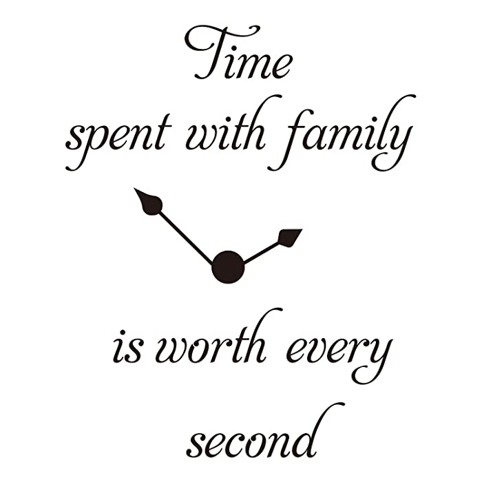 ZSSZ Time Spent with Family is Worth Every Second Clock Decal Vinyl Wall Sticker Room Décor Words