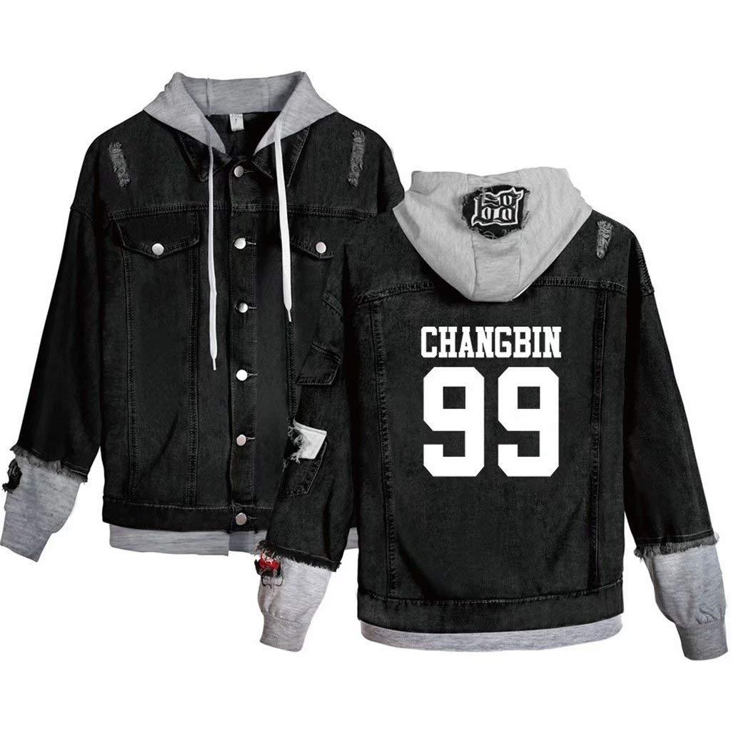 Aopostall Stray Kids Merchandise,Kpop Stray Kids Hoodie Felix Hyujin I.N Jisung Woojin Denim Jacket