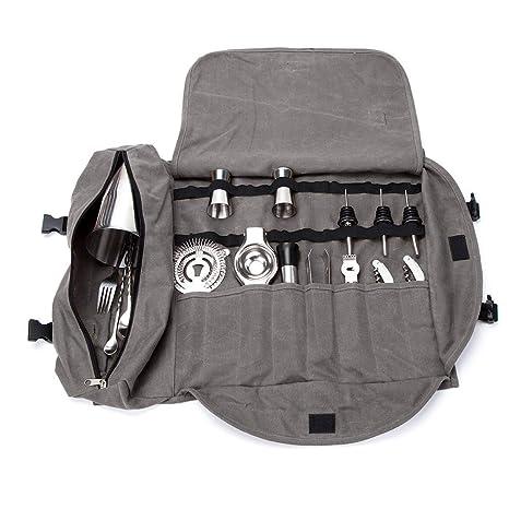 QEES Bartender Kit bolsa de mano, portátil, grande, juego de barras, bolsa de herramientas, casa y lugar de trabajo para hacer cócteles para viajes ...
