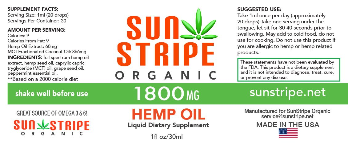 Amazon com: Hemp Oil by Sun Stripe Organic - 1800mg Full Spectrum