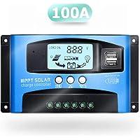 SolaMr 100A Regulador de Carga Solar 12V/24V Panel Solar Regulador de Carga de la Batería con Pantalla LCD y Doble Puerto USB - 100A