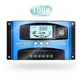10A SolaMr 10A Regolatore di Carica Solare 12V//24V Regolatore Intelligente con Display LCD e Doppia Porta USB per Batteria Pannello Solare