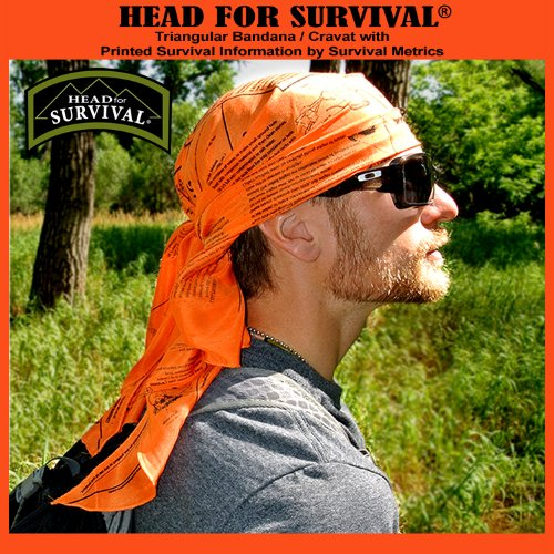 Head for Survival® ORANGE Triangular Bandana / Cravat with Survival Information