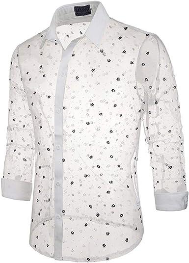 Perspectiva de Encaje Sexy para Hombre Camisas de Manga Larga Club Nocturno Camisas Ajustadas Traje de Baile: Amazon.es: Ropa y accesorios