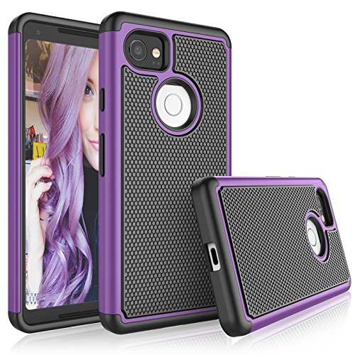 Google Pixel 2 XL Case, 2017 Google Pixel 2 XL Cute Case, Tekcoo [Tmajor] Shock Absorbing [Purple] Hybrid Combo Rubber Silicone & Plastic Scratch Resistant Bumper Rugged Grip Hard Cases Cover