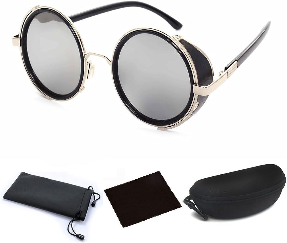 Studio Cover Metal Side Shield Round Fashion Vintage Sunglasses Black FREE CASE